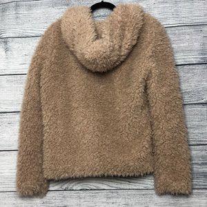 Tobi Jackets & Coats - Tobi Oversized Furry Cream/Beige ZIP Jacket